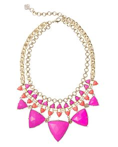 "Let the bright colors of summer pop with this vibrant statement necklace by Kendra Scott. 5.5""L x 2.5""W bib, 10"" chain with 3"" extender."