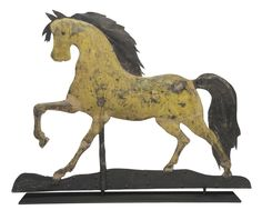 "Rare painted and molded copper ""Arabian"" horse weathervane, A.L. Jewell & Co., Waltham, Massachusetts, circa 1860 