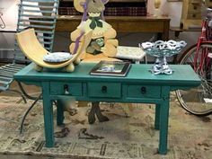 """Long Blue Painted Three Drawer Bench or Table On Sale  47.5"""" Wide x 15"""" Deep x 21"""" High   Was $359 Sale Price $275  #82110  Rick's Antiques and Home Decor, Dealer #36  White Elephant Antiqu"""