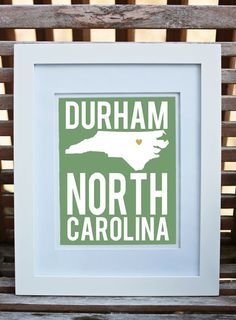 North Carolina Print Durham Gold Foil Heart State Art by cr2f