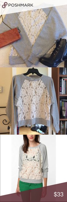 Pins and Needles Lace Sweatshirt Heather gray sweatshirt from Urban Outfitters with crochet lace front & back. Sleeves are super soft sweatshirt material. Worn a few times, but in excellent condition! No visible signs of wear. Urban Outfitters Tops Sweatshirts & Hoodies