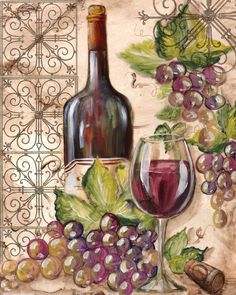"from album ""ВИННЫЕ ПОСТЕРЫ"" on -Photo from album ""ВИННЫЕ ПОСТЕРЫ"" on - ""French Wine Tasting"" by Marilyn Dunlap Trademark Fine Art Vin Abstract I Canvas Wall Art Villa Reds Canvas Art Print by Marilyn Hageman Decoupage Vintage, Decoupage Paper, Wine Painting, Fruit Painting, Wein Poster, Arte Pallet, Wine Decor, Wine Art, Painting Inspiration"