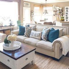 32 Rustic Farmhouse Living Room Decor Ideas For Your Home, Living room is essential in every home. Rustic living rooms are the perfect space to try a warm, earthy color palette. The living room is the perfect . Modern Farmhouse Living Room Decor, Coastal Living Rooms, My Living Room, Home And Living, Farmhouse Style, Rustic Farmhouse, Farmhouse Signs, Cozy Living, Modern Living
