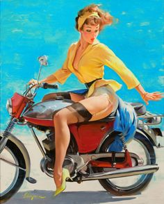 "1956 ""Skirting the Issue"" (Breezing Up) by Gil Elvgren"