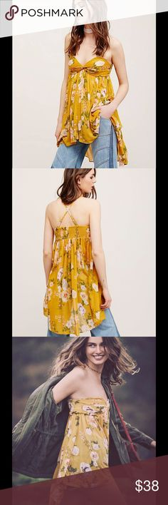 Brand New Free People Mirage Tube Top Beautiful Free People Yellow Mirage Tube Top.  I misplaced the straps but they are not needed on this Top. Free People Tops Blouses