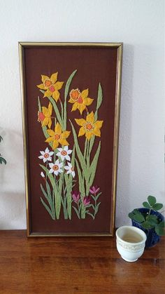 Spring flowers, garden, vintage art, crewel work, craft, crocus, daffodil, paperwhites, retro, macrame, framed art   Check out this item in my Etsy shop https://www.etsy.com/listing/545246293/vintage-crewel-flowers-yarn-art