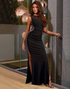 Michelle Keegan Sequin Lace Trim Maxi Dress