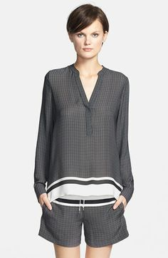 Vince Print Half Placket Blouse available at #Nordstrom