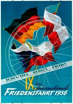 Velo Illustration 019: «Berlin Prag Warschau 1956». An der Internationalen Friedensfahrt 1956 starteten 141 Fahrer aus 24 Mannschaften, ein neuer Teilnehmerrekord. Erstmals gingen Teams aus der Bundesrepublik Deutschland, aus Luxemburg und der Schweiz an den Start.