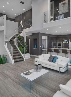 House Interior Design Ideas - Home Design Dream Home Design, Modern House Design, Modern Interior Design, Contemporary Interior, Modern Living Room Design, Interior Ideas, Modern White Living Room, Kitchen Contemporary, Simple Interior