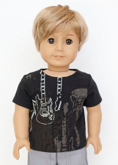 American Boy doll upcycled guitar T shirt  by EverydayDollwear