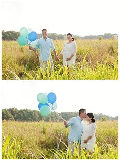 Maternity photo in a field with balloons