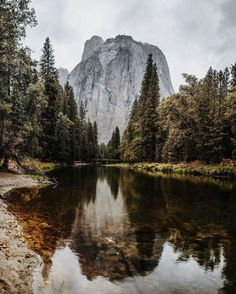 Stormy Cathedral Reflection. Merced River. Yosemite National Park, California