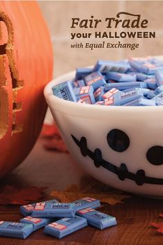 Equal Exchange organic dark or milk chocolate minis are perfect bite sized treats for Halloween parties, gifts, trick-or-treaters, and more. The chocolate is fairly traded from small-scale farmer co-ops and every purchase helps keep their communities thriving.