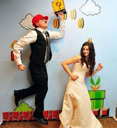 """Brooke & Jon's elegantly Mario wedding """"Being huge, lifelong gamers, our wedding theme was Super Mario Bros. Originally, we had wanted to do all video games but we thought people would get it more if we just chose Mario. Diy Wedding Photo Booth, Diy Photo Booth Backdrop, Photo Booth Background, Wedding Photos, Backdrop Ideas, Diy Photobooth, Booth Ideas, Picture Booth, Booth Decor"""