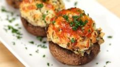Garlic Parm Stuffed Mushrooms These Garlic Parmesan-Stuffed Mushrooms Are Clearly A Need To Make Appetizers For Party, Appetizer Recipes, Seafood Appetizers, Easter Recipes, Easy Mushroom Recipes, Stuffed Mushroom Recipes, Tapas, Vegetarian Recipes, Cooking Recipes