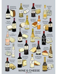 Wine & Cheese Poster Print by Wine Folly - PAIR WINE AND CHEESE. 2-sided print. This design includes 20 hand-illustrated wine and cheese pairings along with dozens of other pairing suggestions. The print is the same on each side but with a different background color so you can display the color that most suits your space. An amazing addition for your kitchen, office, or next to your