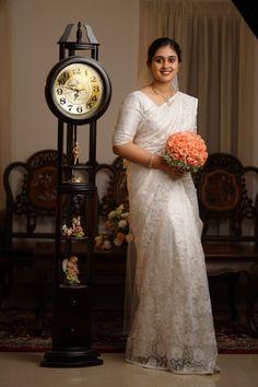 - - - – – Source by - Christian Wedding Dress, Christian Bridal Saree, Christian Bride, Christian Weddings, White Saree Wedding, White Bridal, Bridal Wedding Dresses, Wedding Sarees, Modest Wedding