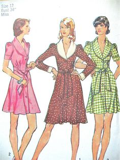 Vintage 1973 Simplicity 5843 Mini Dress with Collar & by Fancywork