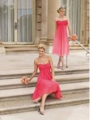 Chiffon Strapless Gathered Empire Bodice A-line Bridesmaids Dress