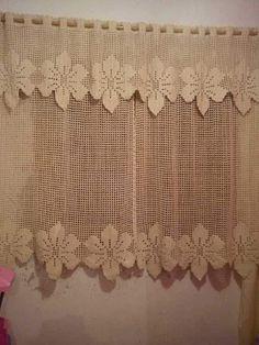 String Curtains, Drop Cloth Curtains, Diy Curtains, Crochet Borders, Filet Crochet, Cotton Crochet, Crochet Lace, Crochet Apple, Crochet Edgings