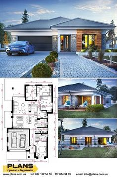 Home Building Design, Building A House, Town House Plans, Modern Bungalow Exterior, Bungalow Floor Plans, House Plans With Pictures, Beautiful House Plans, Villas, Home Lighting Design