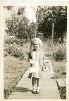 Vintage Photograph Girl With Purse 1940's