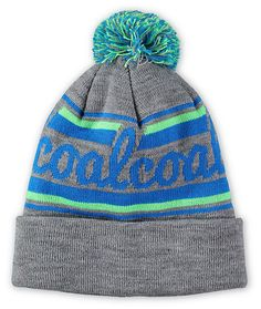 Add some stylish color to your outfits with a blue and green wraparound Coal script and a blue, green, and grey pom on top for added color.