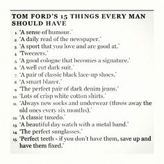To Ford's tips for every man to know