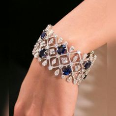 Best Diamond Bracelets : The colour of Burmese sapphires is usually described as royal blue. The most sou Sterling Silver Jewelry, Gold Jewelry, Jewelry Accessories, Fine Jewelry, Jewelry Design, Jewellery, Diamond Bracelets, Jewelry Bracelets, Ankle Bracelets