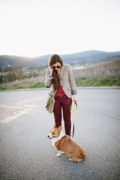 shades of red/purple and gray blazer