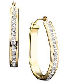 14k Gold Diamond Accented Pear Shaped Hoop Earrings