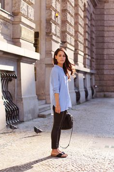 Outfit: Leather leggings, blue shirt, Alexander Wang Rockie bag, Birkenstock sandals - teetharejade.com
