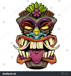 Find Tiki Island Head stock images in HD and millions of other royalty-free stock photos illustrations and vectors in the Shutterstock collection. Thousands of new high-quality pictures added every day. Totem Tattoo, Tiki Tattoo, Totem Tiki, Happy Birthday Minions, Mask Drawing, Tattoos For Women Half Sleeve, Tiki Mask, Graffiti Characters, Leg Tattoo Men