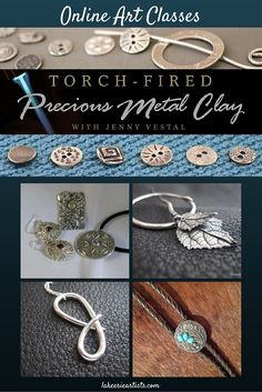 Great class for creative jewelry makers. Fine silver jewelry is yours for the making with precious metal clay and a small kitchen torch. You will be inspired by how easy it is to make striking pendants and earrings with this innovative clay – its tiny particles of fine silver fuse into solid metal when fired. #handmade #PMC