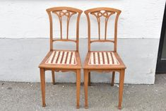 e08d03- Paar Jugendstil Stühle, Kirsche geschnitzt, um 1900/20 Dining Chairs, Furniture, Home Decor, Cherries, Wood Carvings, Art Nouveau, Couple, Dinner Chairs, Homemade Home Decor
