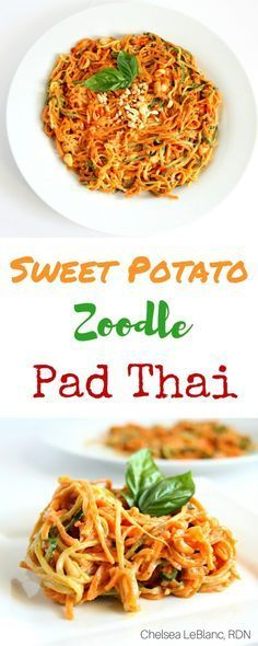 Sweet Potato Zoodle Pad Thai - Chelsea's Choices   This simple Sweet Potato Zoodle Pad Thai is ready in under 30 minutes and has all the flavors you know and love from the classic Pad Thai. #thereciperedux