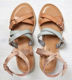 Natural AEO Strappy Ankle Wrap Sandal