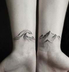 Mountain and Waves Tattoo