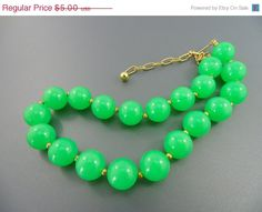 SALE - A Vintage Sci Fi Glowey Green Lime Jelly Plastic Celluloid Beaded Necklace. Cool.. The Old Junk Trunk. on Etsy, $4.50