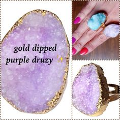 ✨18k Gold Druzy Agate Quartz Natural Stone Ring CHUNKY THICK DRUZY PRETTIES                    ✨dyed agate natural stone dipped in 18k gold         ✨adjustable, one size fits all                                 ✨each one is unique with variances in stone and color, ranging from lilac to purple T&J Designs Jewelry Rings