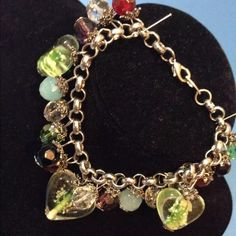 "Heart Charm Bracelet 8"" Glass Faceted Beads Heart Charm Bracelet 8"" Glass Faceted Beads Silver Tone Link Chain. A statement bracelet. It's heavy quality made Jewelry Bracelets"