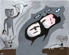 those who hunger 8 x10 on Paper e9Art ACEO Spirits Ghosts Art Painting Outsider Brut Fantasy Gothic Halloween