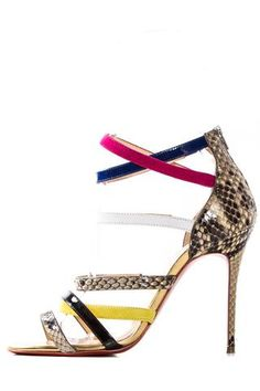 c021cef69d5 Christian Louboutin Multicolored Snake Skin Sandals Luxury Consignment