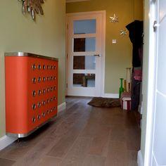 Orange hallway radiator cabinets for modern homes Modern Radiator Cover, Laser Cut Panels, Window Shutters, Bespoke Design, Entrance Hall, Modern Homes, Metal Furniture, Radiators, Cabinets