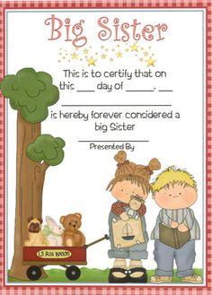 Big Sister Certificate - Personalised Gift for Older Sibling  - Boy or Girl Baby