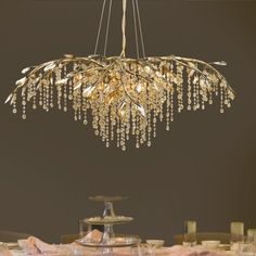 Brazell 12 - Light Unique Geometric Chandelier with Crystal Accents Candelabra Bulbs, Chandelier Lighting, Branch Chandelier, Iron Chandeliers, Reno, Dining Room Design, Lamp Shades, Lighting Design, Decoration