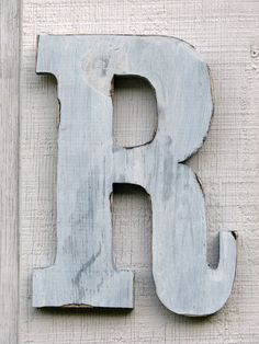 Rustic Wooden Letter R Distressed Painted by borlovanwoodworks