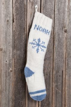 Knitted Christmas Stocking / Personalized FREE / Winter White Stockings / Hand Knitted / Snowflake