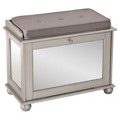 This elegant shoe bench offers chic storage and seating for your entryway with mirrored panels and pillow top.   Product: Shoe s...